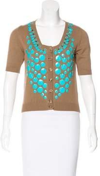 Blumarine Embellished Short Sleeve Cardigan