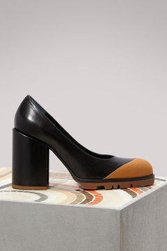 Jil Sander Leather pumps with contrast sole
