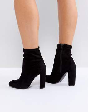 Call it SPRING Black Sock Heeled Ankle Boots