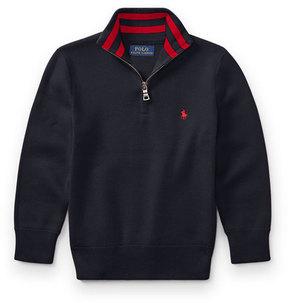Ralph Lauren Half-Zip Cotton Pullover, Navy, Size 5-7