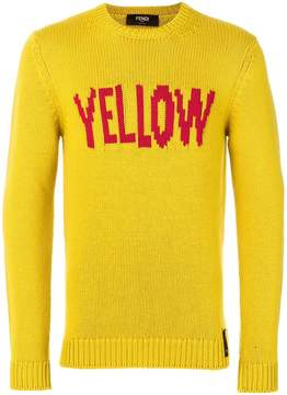 Fendi Yellow slogan pullover sweater