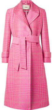 Fendi Prince Of Wales Checked Jacquard Coat - Pink