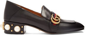 GUCCI Peyton faux-pearl heel leather shoes