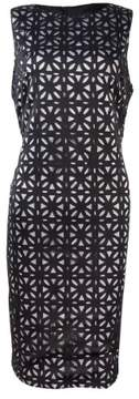 Vince Camuto Women's Lasercut Midi Sheath Dress (8, Black/Silver)