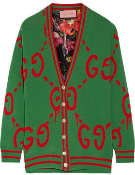 Gucci - Reversible Wool Jacquard-knit And Printed Silk-twill Cardigan - Green