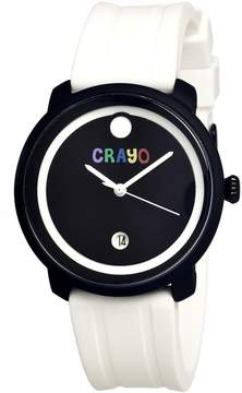 Crayo Fresh Black and White Dial White Rubber Unisex Watch