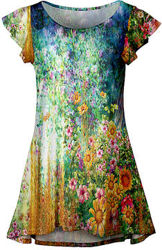 Lily Yellow & Blue Post-Expressionist Floral Flutter-Sleeve Tunic - Women & Plus