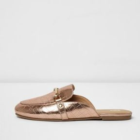 River Island Girls pink metallic snaffle backless loafers