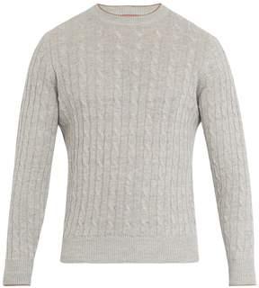 Brunello Cucinelli Crew-neck linen-blend cable-knit sweater