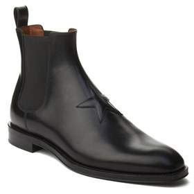 Givenchy Men's Leather Star Patch Chelsea Boot Shoes Black.