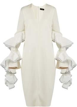Ellery Molotov ruffled-sleeve crepe dress
