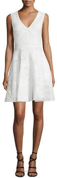 Erin Fetherston Sleeveless V-Neck Fit-&-Flare Lace Dress, Ivory