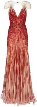 Hestia Embellished V-Neck Gown in red
