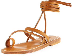 K. Jacques Ellada Leather Ankle-Wrap Sandal, Neutral