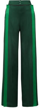 Valentino Belted Striped Hammered Satin-jersey Wide-leg Pants - Emerald