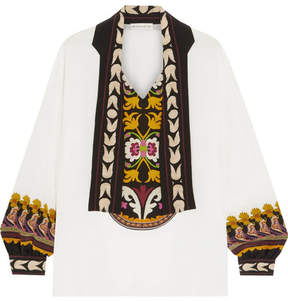 Etro Pussy-bow Printed Silk Crepe De Chine Blouse - White