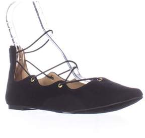 Material Girl Mg35 Ibby Lace-up Ballet Flats, Black.
