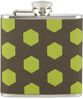 Neiman Marcus Honeycomb-Print Fabric Flask, Lime