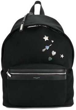 Saint Laurent Men's Black Cotton Backpack.