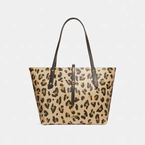 COACH Coach New YorkCoach Market Tote With Leopard Print - LEOPARD/BRASS - STYLE