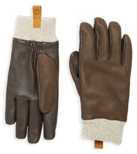 UGG Casual Leather & Shearling Smart Gloves