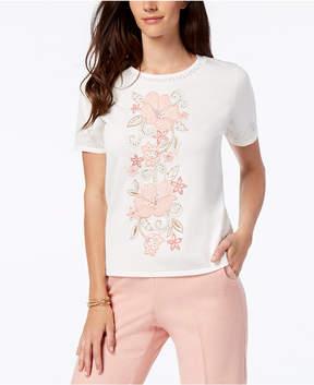Alfred Dunner La Dolce Vita Floral-Applique Sweater