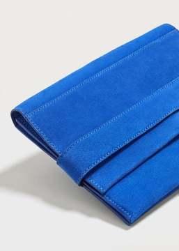 Violeta BY MANGO Lapel leather clutch