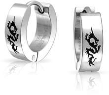 Dragon Optical Bling Jewelry Laser Etched Mens Stainless Steel Huggie Hoops.
