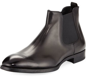 Giorgio Armani Gored Leather Chelsea Boot w/ Rubber Sole