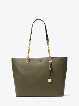 Michael Kors Mercer Chain-Link Leather Tote - GREEN - STYLE