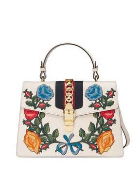 Gucci Sylvie Embroidered Leather Top-Handle Satchel Bag, White/Multi - WHITE MULTI - STYLE