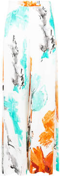 Christian Siriano wide-leg water colour print trousers