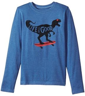Life is Good T-Rex Skater Long Sleeve Crusher Tee Boy's T Shirt