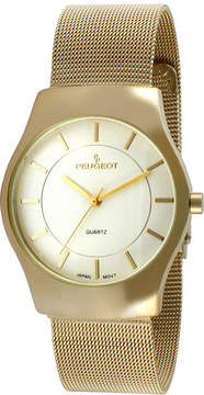 Peugeot Mens Gold-Tone Stainless Steel Mesh Watch 1002G