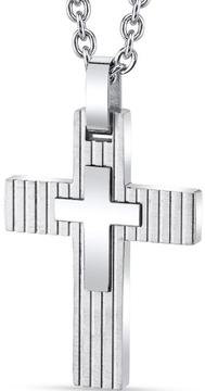Ice Men's White Stainless Steel Layered 2-Tone Cross Pendant Necklace