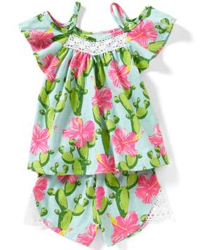 Rare Editions Baby Girls 12-24 Months Cactus-Print Cold-Shouler Top & Shorts Set