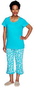 Carole Hochman Dogwood 100% Cotton Jersey 2-piece Capri PJ Set