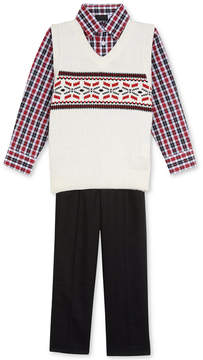 Nautica 3-Pc. Plaid Shirt, Fair Isle Sweater Vest & Pants Set, Little Boys (4-7)