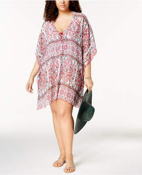Becca Etc Plus Size Granada Printed Tunic Cover-Up Women's Swimsuit