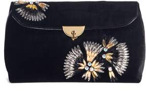 Dries Van Noten Crystal Embellished Velvet Clutch
