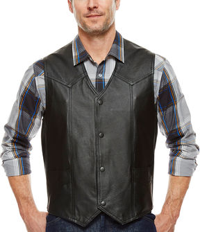 Asstd National Brand Snap-Front Leather Vest