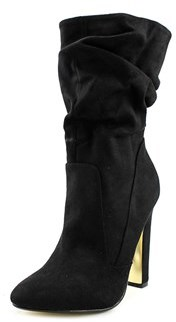 Luichiny Cha Ching Round Toe Suede Mid Calf Boot.