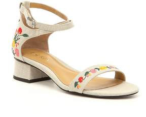 Lauren Ralph Lauren Betha II Floral Embroidered Linen Ankle Strap Block Heel Dress Sandals