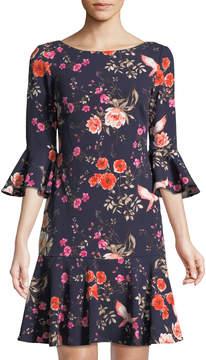 Eliza J Floral Bell-Sleeve Flare Dress