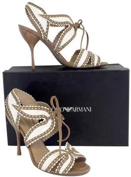 Emporio Armani Tan & White Leather Heels