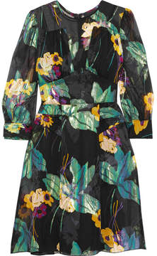 Anna Sui Blithe Spirit Fil Coupé Silk-blend Chiffon Mini Dress - Green