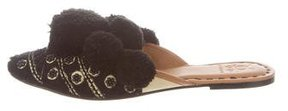 Figue Embroidered Pom Pom Mules w/ Tags