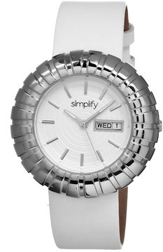 Simplify Womens The 2100 White Dial White Leather-Band Watch With Day&Date Sim2101