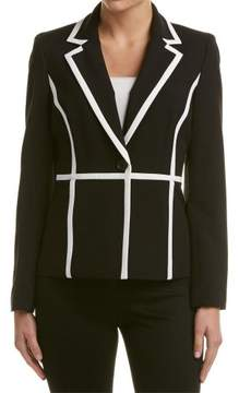 Nine West Women's Piped One-Button Jacket (2, Black/Lily)