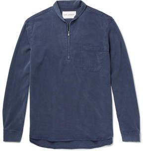 Our Legacy Shawl-Collar Washed-Twill Half-Zip Shirt
